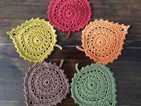 Crochet Pattern Leaf Coasters