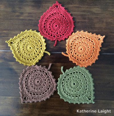 Crochet Pattern Leaf Coasters