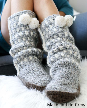Crochet Pattern Mukluk Slippers
