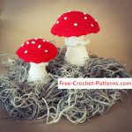 Pattern Red Mushrooms with White Dots