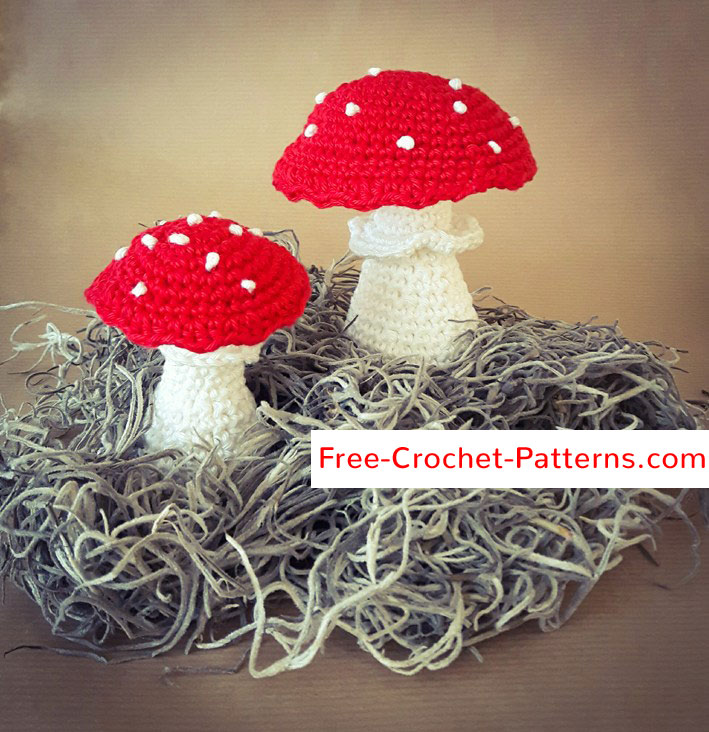 Free Crochet Patterns Pattern Red Mushrooms With White Dots Free