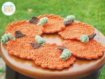 Crochet Pattern Pumpkin Coasters