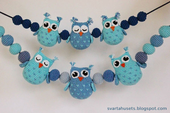 Crochet Pattern Owls and balls for Baby Carriage