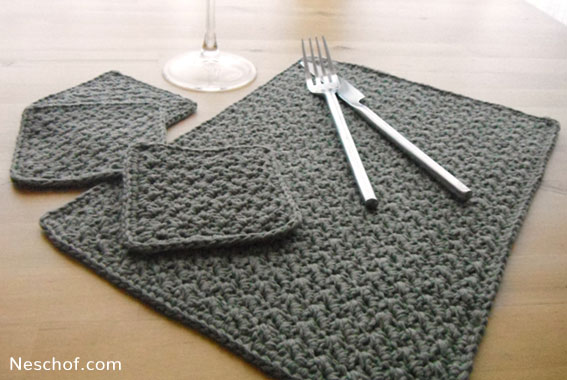 Crochet Pattern Placemat Coaster Set in Grit Stitch