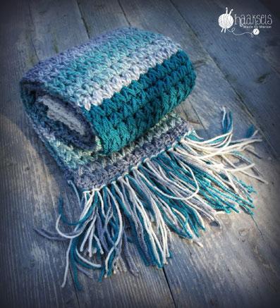 Crochet Pattern V Puff Scarf