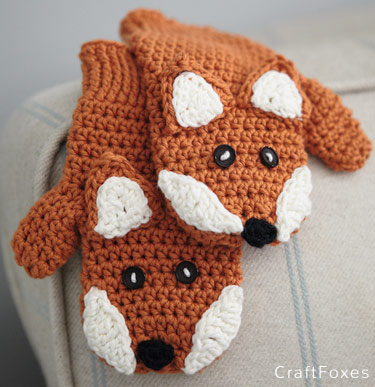 Free Crochet Pattern Children's Fox Mittens