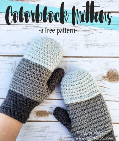 Free Crochet Pattern Colorblock Mittens