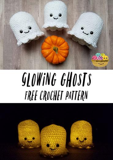 Free Crochet Pattern Glowing Ghosts