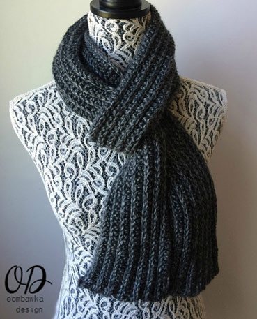 Free Crochet Pattern Ribbed Scarf for Men