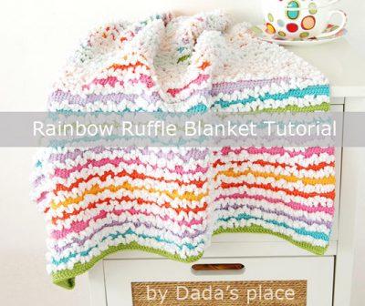 Free Crochet Pattern Rainbow Ruffle Blanket