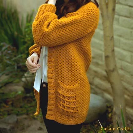 Free Crochet Pattern Waffle Cardigan