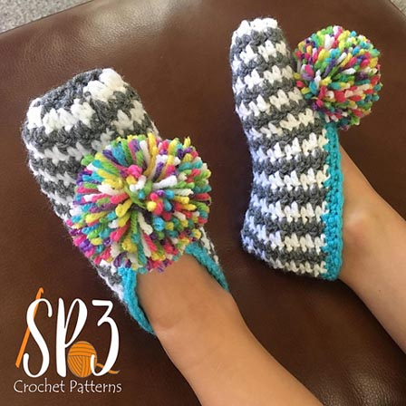 Free Crochet Patterns Comfy Houndstooth Slippers