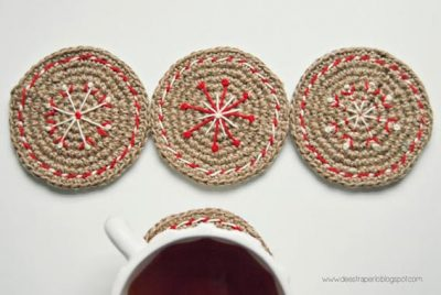 Free Crochet Pattern Christmas Coasters