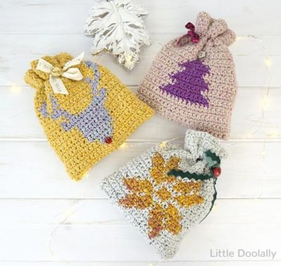 Free Crochet Pattern Christmas Gift Bags