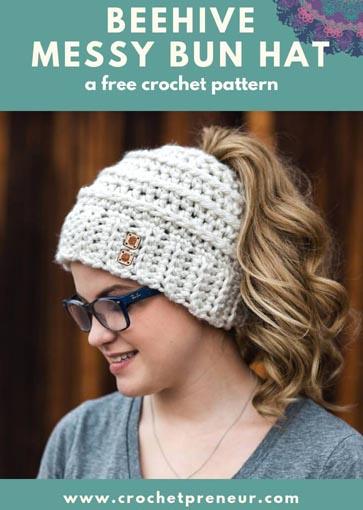 Free Crochet Pattern Messy Bun Hat