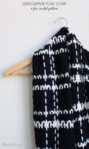 Free Crochet Pattern Plaid Scarf