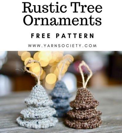 Free Crochet Pattern Rustic Tree Ornaments