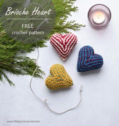 Free Crochet Pattern Brioche Heart