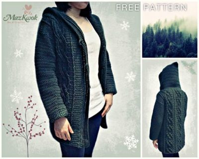 Free Crochet Pattern Cable Hooded Sweater