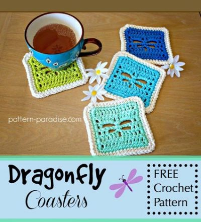 Free Crochet Pattern Dragonfly Coasters