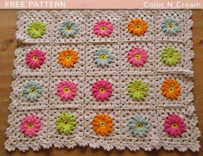 Free Crochet Pattern Flower Square