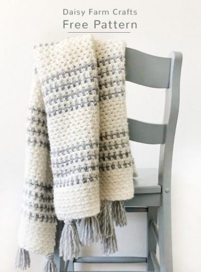 Free Crochet Pattern Striped Throw