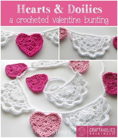 Free Crochet Pattern Valentine Bunting