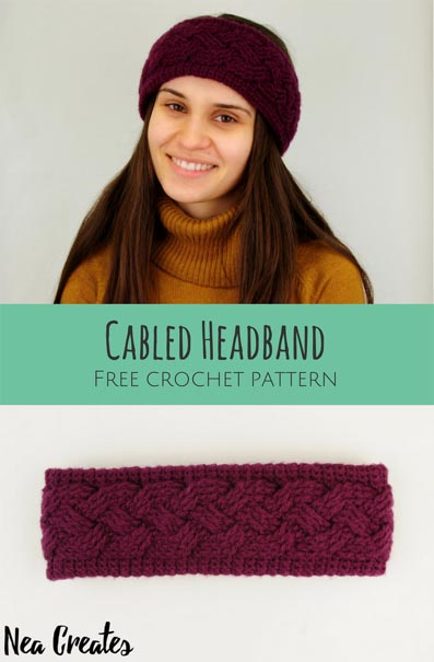Free Crochet Pattern Cabled Headband
