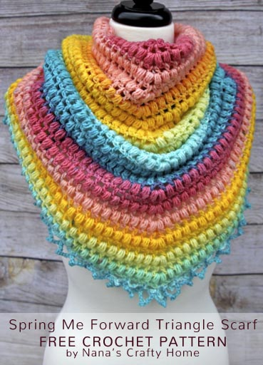 Free Crochet Pattern Spring Triangle Scarf