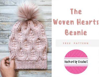 Free Crochet Pattern Woven Hearts Beanie