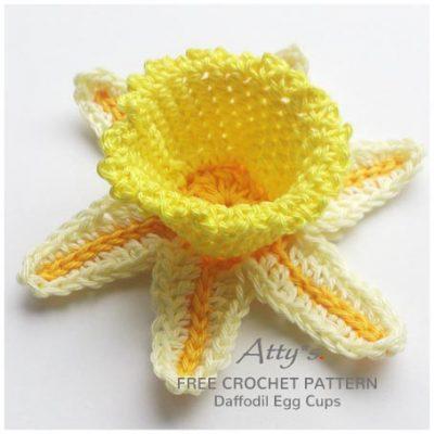 Free Crochet Pattern Daffodil Egg Cups