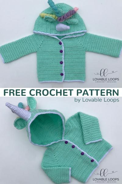 Free Crochet Pattern Hooded Unicorn Cardigan