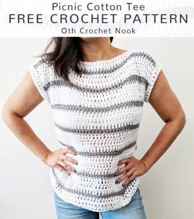 Free Crochet Pattern Picnic Cotton Tee