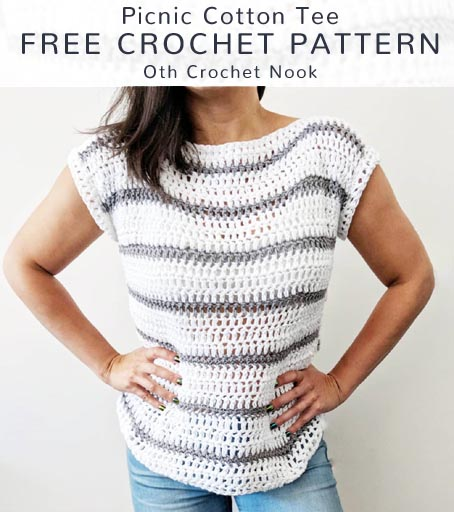 Free Crochet Patterns Free Crochet Pattern Picnic Cotton Tee