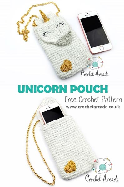 Free Crochet Pattern Unicorn Phone Pouch