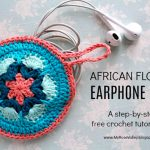 Free Crochet Pattern African Flower Earphone Case