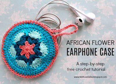Free Crochet Pattern African Flower Earphone Case