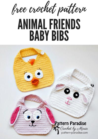 Free Crochet Pattern Animal Baby Bibs