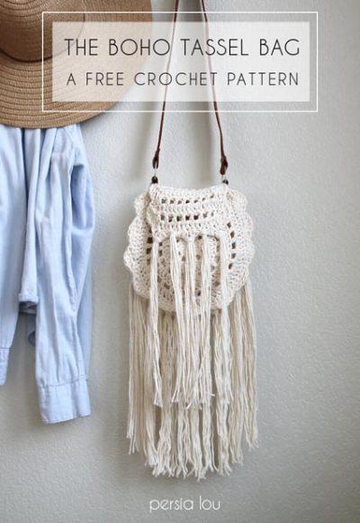 Free Crochet Pattern Boho Tassel Bag