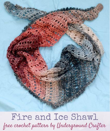 Free Crochet Pattern Fire and Ice Shawl