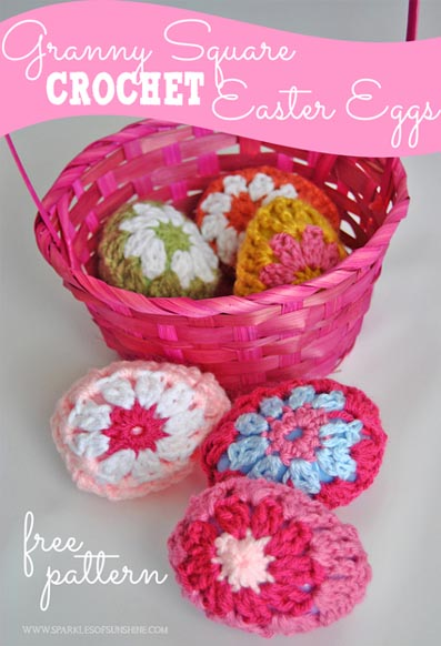 Free Crochet Pattern Granny Square Easter Eggs