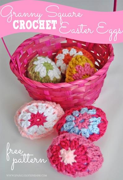 Free Crochet Pattern Granny Square Easter Eggs