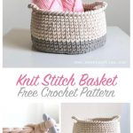 Free Crochet Pattern Knit Stitch Basket