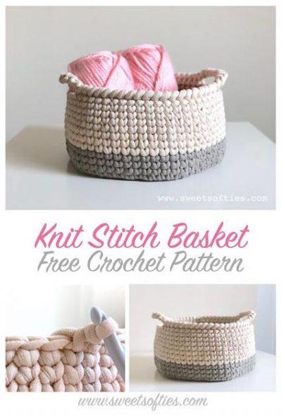 Free Crochet Pattern Knit Stitch Basket