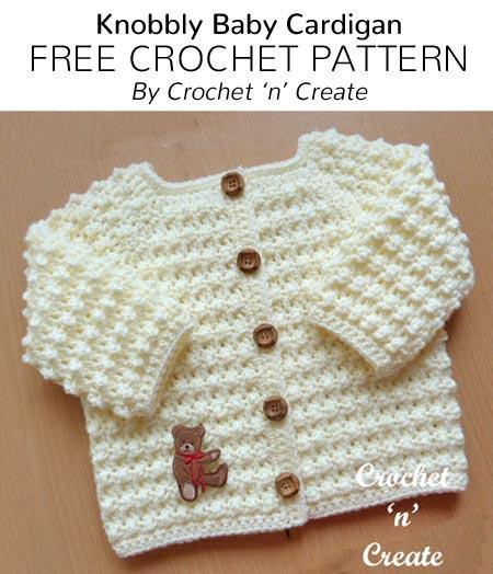 Free Crochet Patterns Free Crochet Pattern Knobbly Baby Cardigan