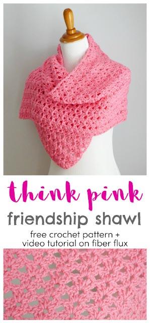 Free Crochet Pattern Pink Friendship Shawl