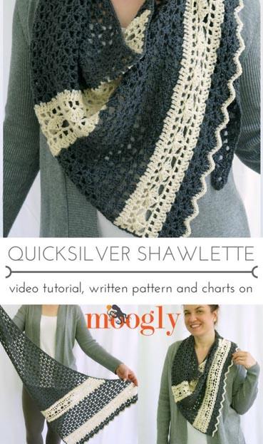 Free Crochet Pattern Quicksilver Shawlette