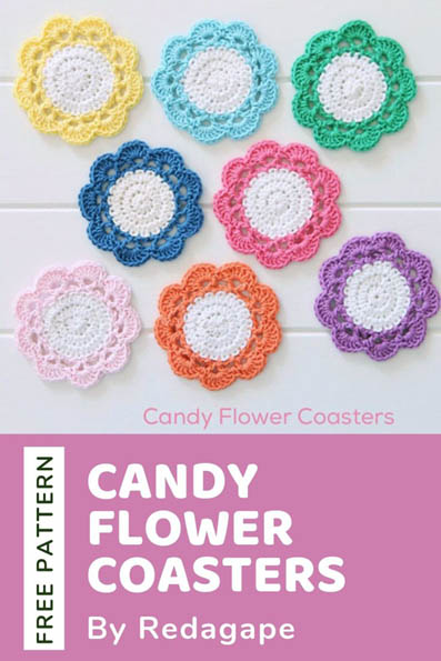 Free Crochet Pattern Candy Flower Coasters