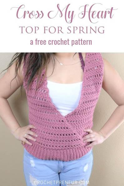 Free Crochet Pattern Cross My Heart Top