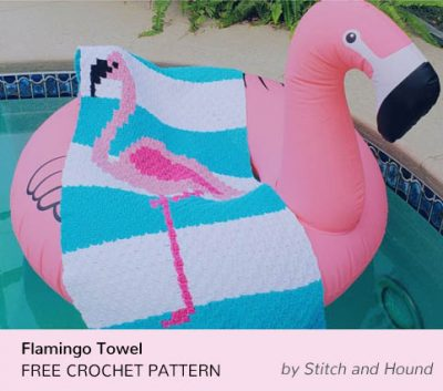 Free Crochet Pattern Flamingo Towel